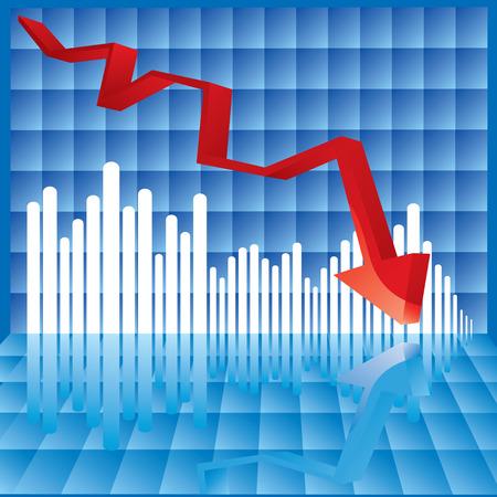 stock predictions: Illustrazione Vettoriale di un grafico in cui le cifre improvvisamente bacia la parola