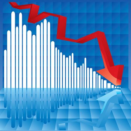 risico analyse: Vector illustratie van een grafiek waarin de cijfers plotseling kisses de vloer