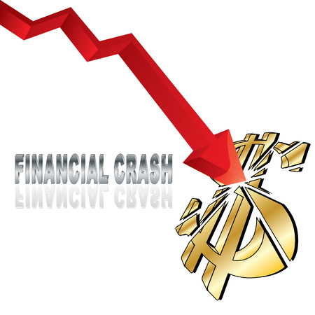 unlucky: Financial crash with red diagram arrow smashing dollar sign and title vector illustration