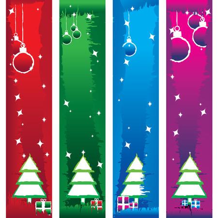 colore albero di Natale con striscioni decorazione illustrazione vettoriale  Archivio Fotografico - 3605811