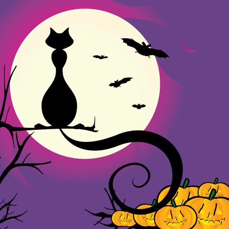 Vector illustration of a Halloween scene