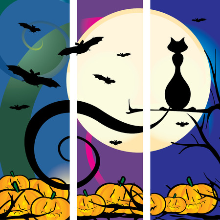 pussy tree: Vector illustration of a Halloween scene