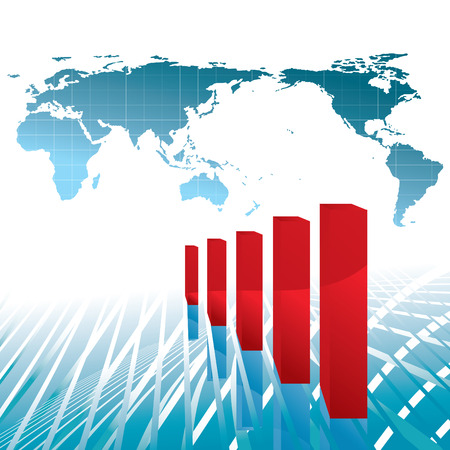 reusable: world economy growth chart vector illustration - base map: Tinka Sloss Reusable NASA images