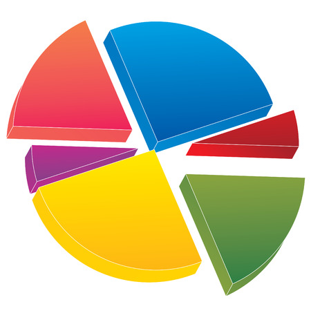 color 3d pie chart vector illustration Stock Vector - 3623122