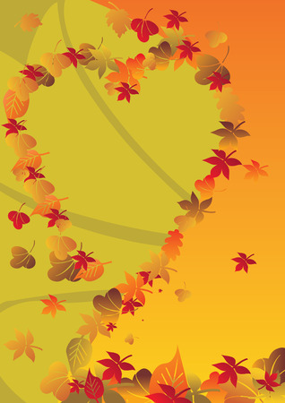 autumn background with heart vector illustration Vector