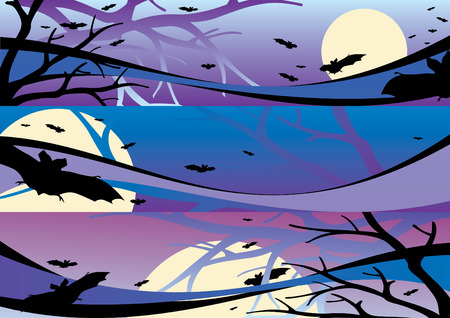 harvest moon: Halloween scene internet banners 2 vector illustration