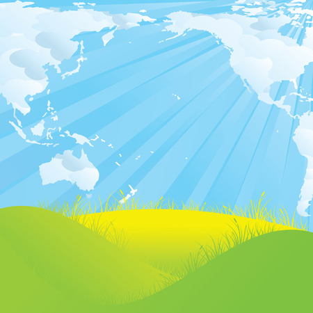 dreamlike: world map shaped clouds landscape vector illustration