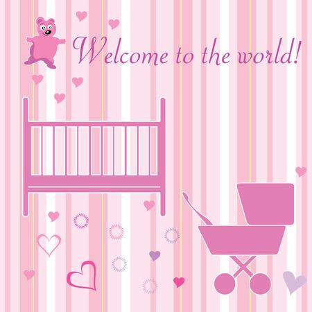 home birth:  girl welcome card design elements vector illustration Illustration