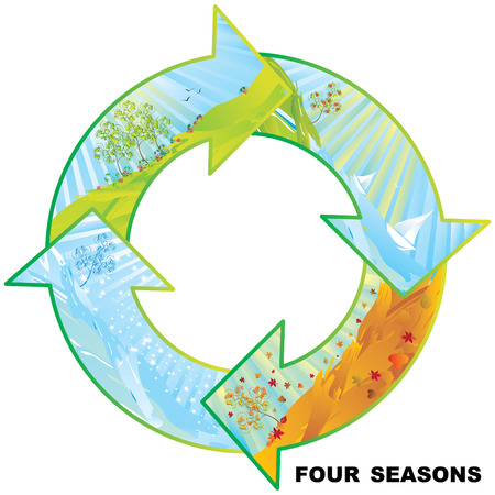 Four seasons circle vector illustration with copy space  Vector