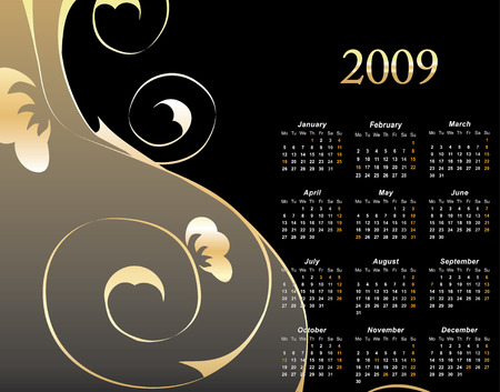 almanac: 2009 Elegant Floral Calendar with space reserved for your text vector illustration