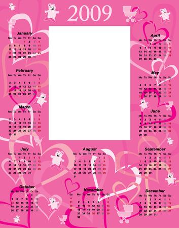 almanac:  Girl Calendar 2009 to paste photo vector illustration