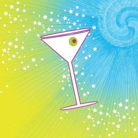 palmetto: Martini drink glass with olive and spiral abstract background vector illustration design