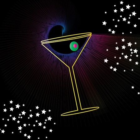 Martini drink glass with olive abstract background vector illustration design Vector