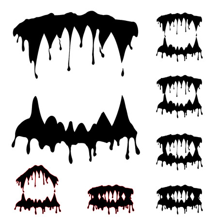grab: Beast jaw silhouettes collection vector illustration - ORIGINAL ARTWORK Illustration