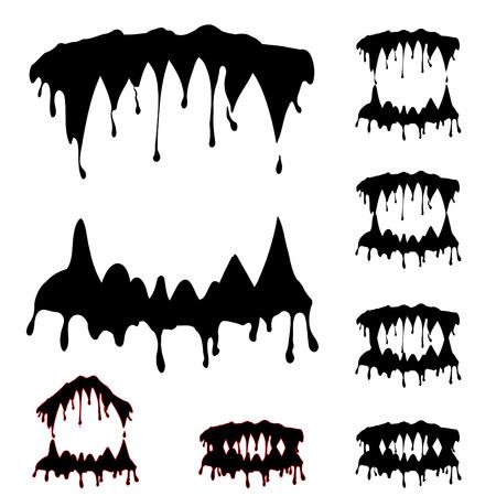 vampire teeth: Beast jaw silhouettes collection vector illustration - ORIGINAL ARTWORK Illustration