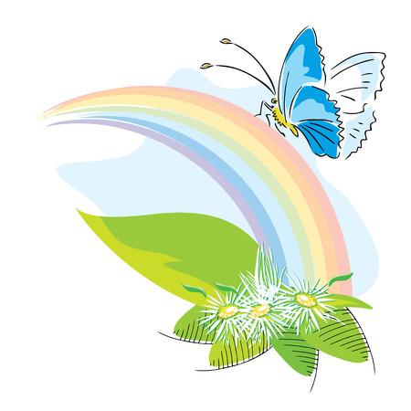 Rainbow mit Blumen und Schmetterlingen Vektor-Illustration Vektorgrafik