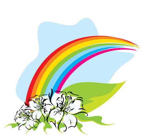 Rainbow with lilies vector illustration Vector