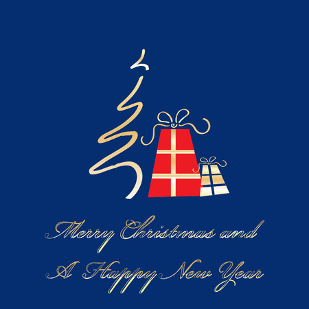 Merry Christmas and A Happy New Year greeting card template, vector illustration