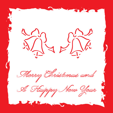 bell curve: Merry Christmas and A Happy New Year greeting card template, vector illustration
