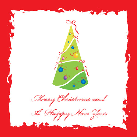 Merry Christmas and A Happy New Year greeting card template, vector illustration Vector