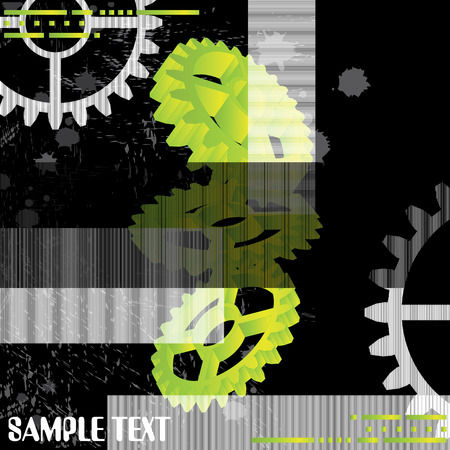 enhancement: large industrial gears set futuristic background with copy space, vector illustration