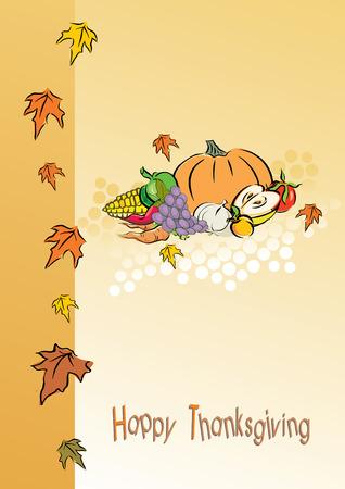 apple border: thanksgiving foliage or greeting card, vector illustration Illustration