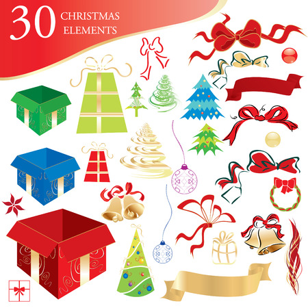 Set of 30 Christmas design elements, vector illustration Vector