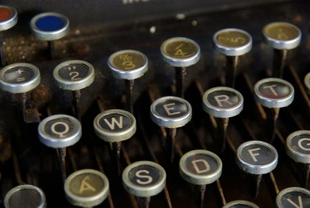 detail of vintage typewriter, close up on keys photo