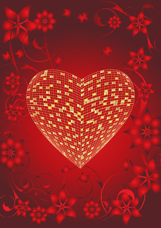 gold heart with red Floral valentine background, vector illustration Stock Vector - 3924832