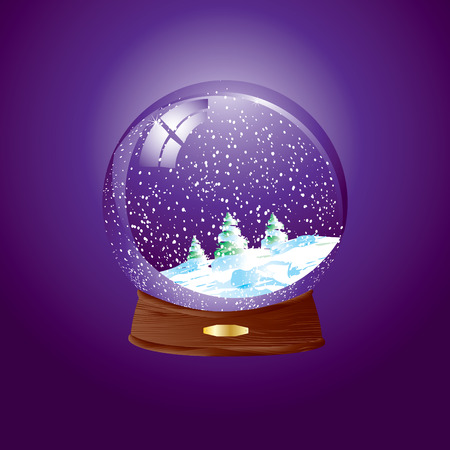 wooden insert: Realistic vector illustration of an snow dome against a purple background with winter landscape - Easy to insert your own object