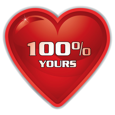 shiny button red heart with 'hundred percent yours' message, vector illustration Stock Vector - 3969044
