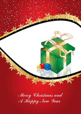 Greeting card with gift box and copy space or place for your image, vector illustration Stock Vector - 3969039