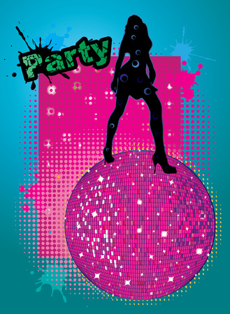 party background with big disco ball and woman silhouette dancing - original hand drawn vector illustration Illustration