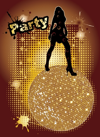 flyer party: party background with big disco ball and woman silhouette dancing - original hand drawn vector illustration Illustration