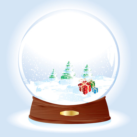 Realistic vector illustration of an snow-dome with gifts on snow and pine trees landscape Vector