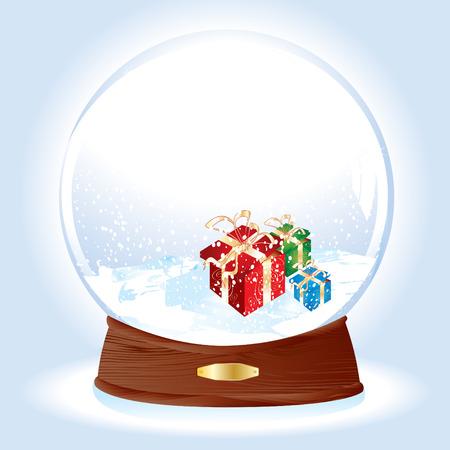joyous: Realista, ilustraci�n vectorial de un domo de nieve con regalos en la nieve