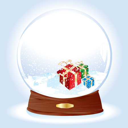 Realistic vector illustration of an snow-dome with gifts on snow  Vector