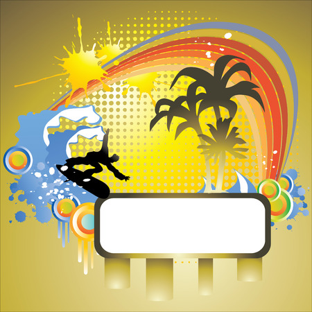 tropical background and frame, hand drawn illustration Vector