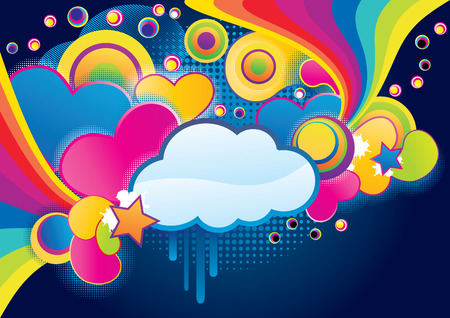 Splash collage with cloud, abstract vector illustration Vector