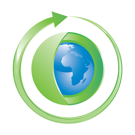 clockwise: icon with Earth wrapped in green with clockwise arrow, vector
