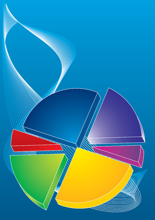 color 3d pie chart on blue background, vector illustration Stock Vector - 4145777
