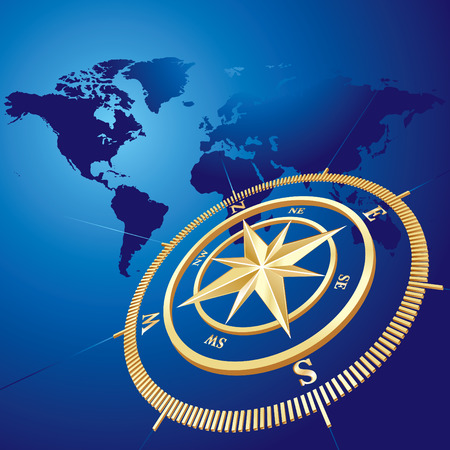 Gold compass with world map background, vector illustration Stock Vector - 4141542