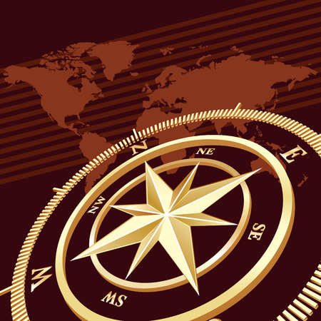 Gold compass with world map background, vector illustration Vector