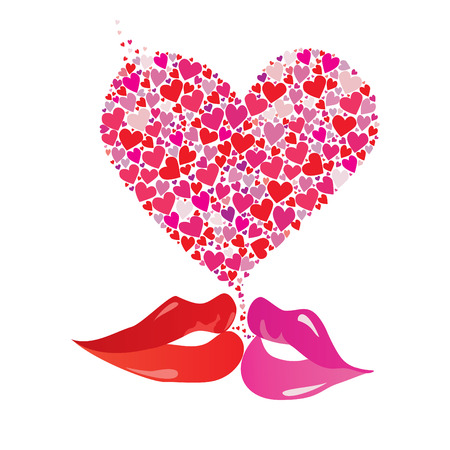 Valentines Day Heart floral and kissing lips, elements for design, vector illustration