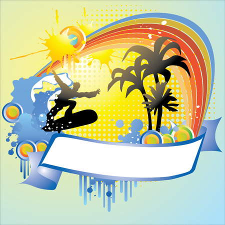 tropical frame with palms and surfer, hand drawn vector illustration Vector