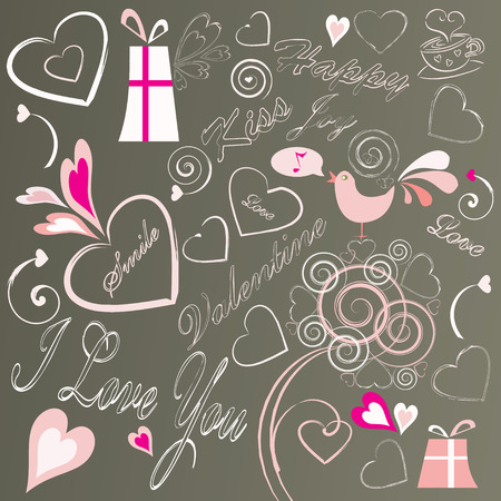 valentine doodles set, vector illustration Vector