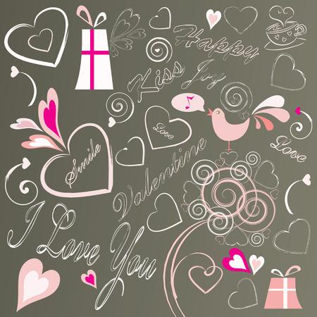 valentine doodles set, vector illustration Vector