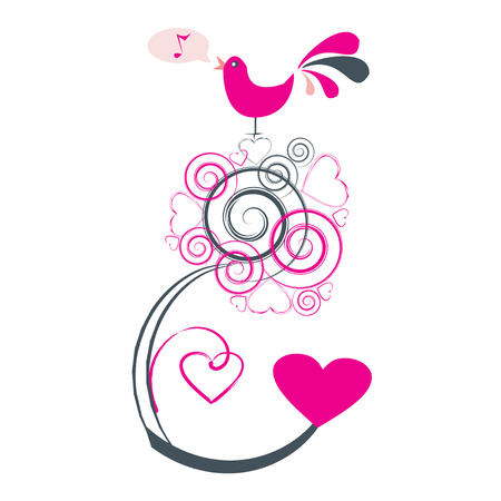 Valentines abstract tree with bird singing, vector illustration Vector