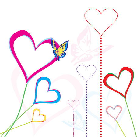 Vector Illustration of Decorative heart shapes and funky butterfly Vector