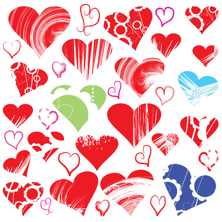 Hearts over white background, vector designer set Vector